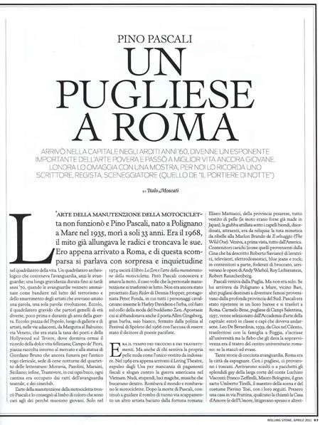 Rolling stone magazine» n. 90 aprile 2011 (pino pascali)